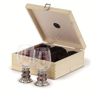 """Artina SKS Бокалы для вина """"Рубин"""" 2 шт. в деревянной коробке 13129 (олово 95% и стекло)"""
