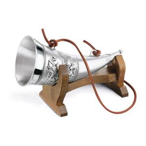 "Artina SKS Рог для напитков на деревянной подставке ""Гамбринус"" 12628 (олово 95%)"