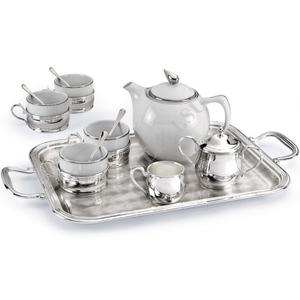"""Chinelli Чайный набор на 4 персоны на прямоугольном подносе из коллекции """"Cesello"""" 2051106"""