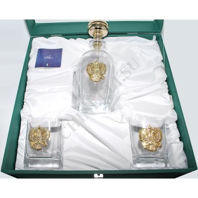 """Chinelli Набор для виски на 2 персоны """"Россия"""" с позолоченным гербом 6959"""